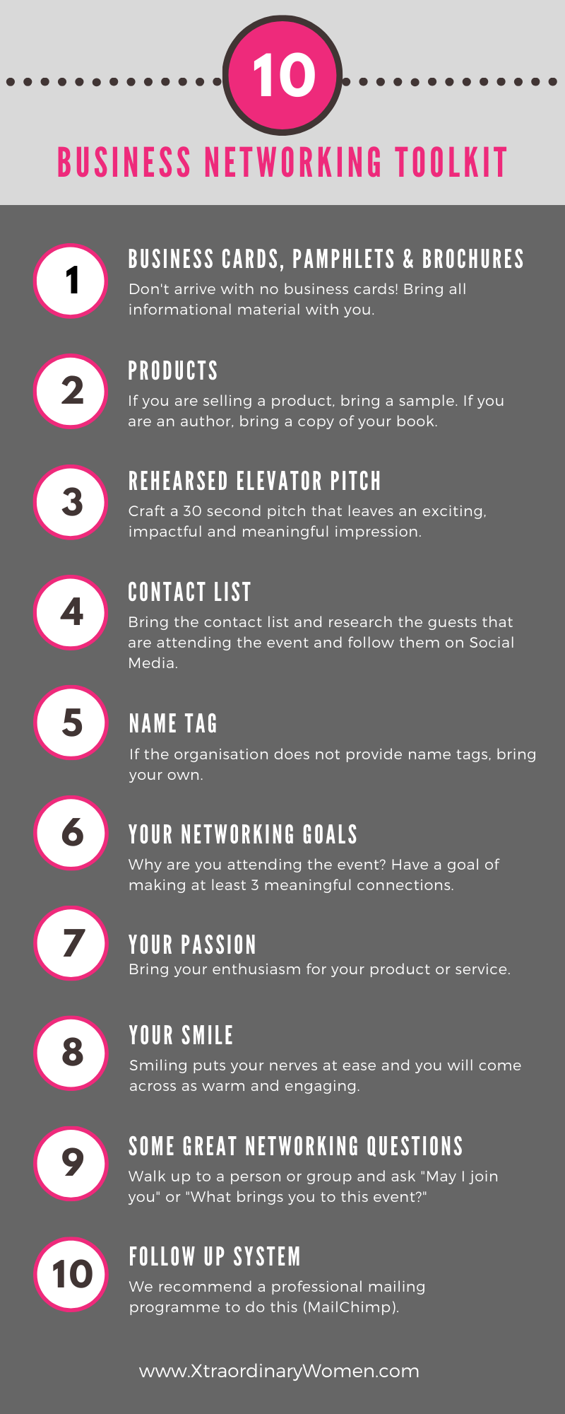 10 Business Networking ToolKit Infographic